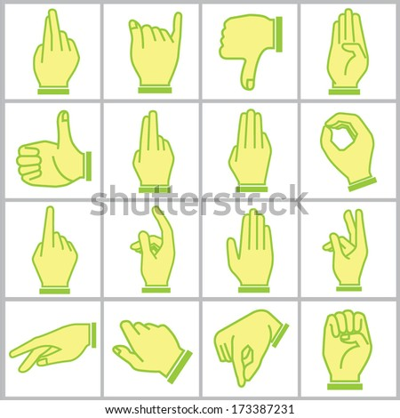 hand icons set, cartoon style, green theme icons - stock vector