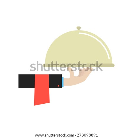 hand in black suit holding dish. concept of gastronomy, diner, bistro, kitchenware, eating, lunch, breakfast, dishware, cook, eating, profession. flat style trendy modern design vector illustration - stock vector