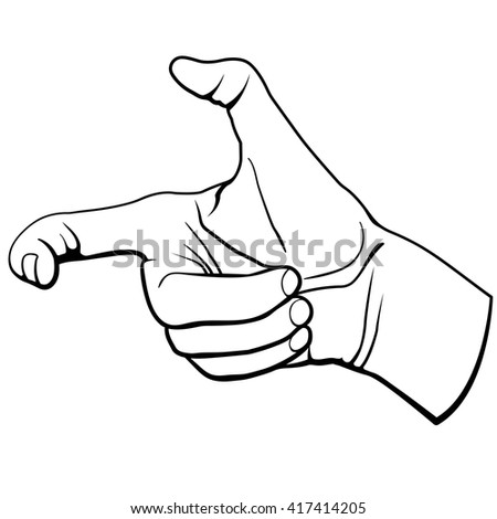 Hand in gun figure Shooting. gesture Vector illustration.