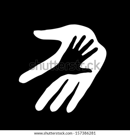 Hand in hand illustration in black-and-white colors. Concept of help, assistance and cooperation. - stock vector