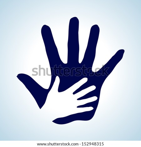 Hand in hand illustration in white and blue. Help, assistance and cooperation idea.