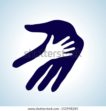 Hand in hand illustration in white and blue. Help, assistance and cooperation symbol. - stock vector