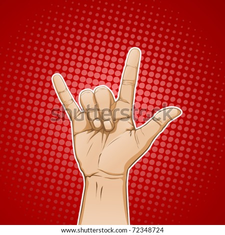 Hand in I love you / metal sign - stock vector