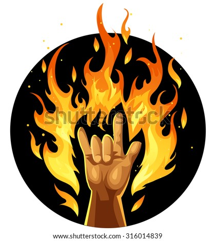 Hand in rock and roll sign in fire - stock vector