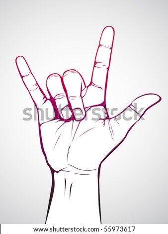 Hand in rock n roll sign - stock vector