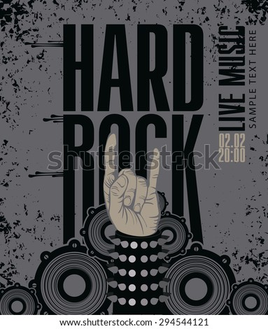 Hand in rock n roll sign against the background of the audio speakers - stock vector