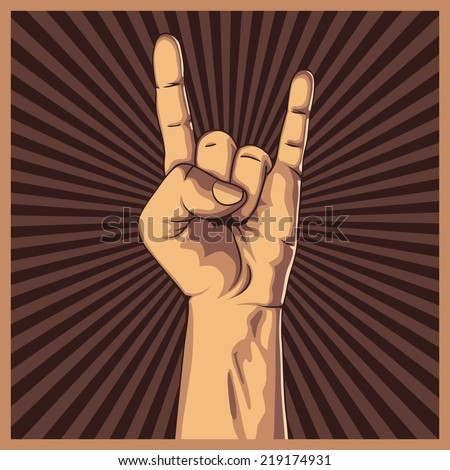 Hand in rock sign background. Vector illustration. Hand collection. - stock vector