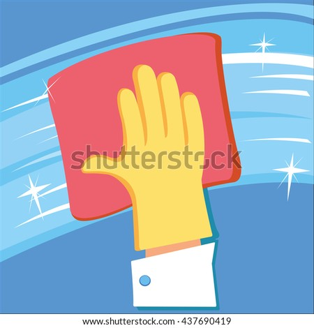 Hand in rubber glove cleaning window. - stock vector