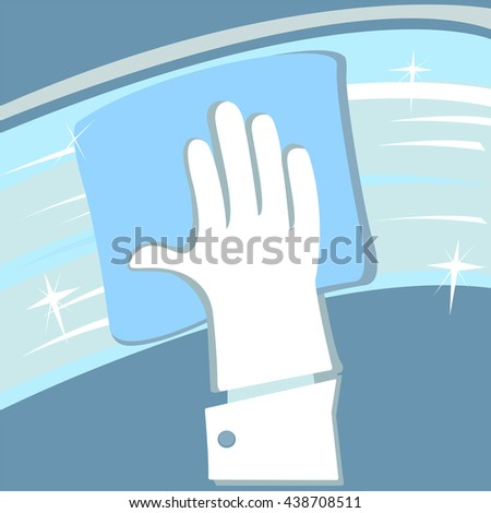 Hand in rubber glove cleaning window. Vector graphic image. - stock vector