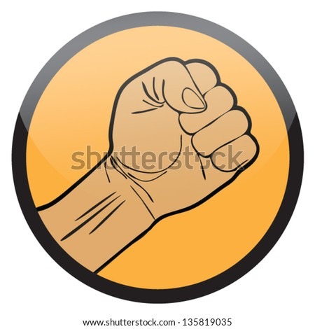 HAND IN SHAPE OF FIST SYMBOL,EMBLEM VECTOR - stock vector