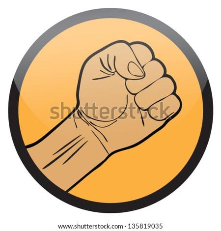 HAND IN SHAPE OF FIST SYMBOL,EMBLEM VECTOR - stock vector