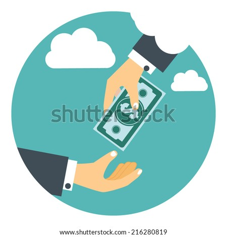 Hand in sky giving money to other hand   - stock vector