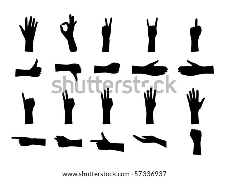 Hand in various position - stock vector