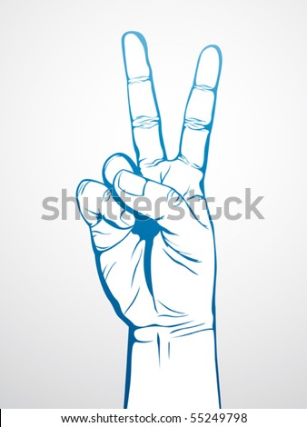hand in victory sign - stock vector