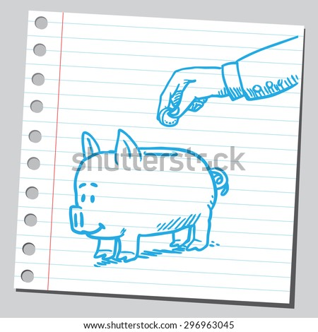 Hand inserting coin in to piggy bank - stock vector