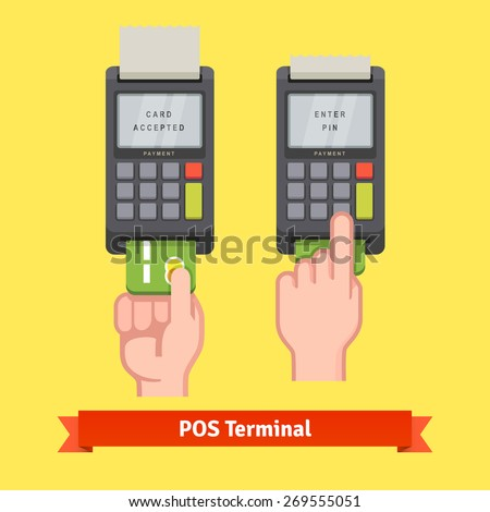 Hand inserting credit card to a POS terminal, entering pin code and printing receipt. Flat style vector icon. - stock vector