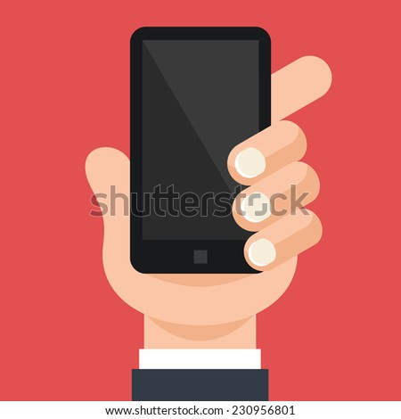 Hand is Holding Smartphone Vector Flat Illustration. Isolated on Stylish Red Background. - stock vector