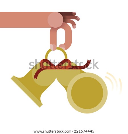 Hand is ringing bells by Christmas concept vector