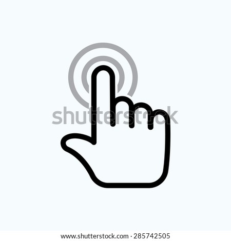 hand is touching the buttons. hand click icon - stock vector