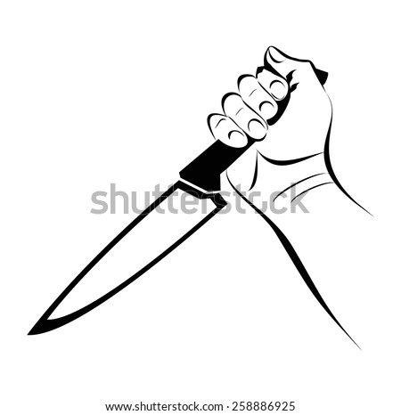 Hand Knife Violence - stock vector