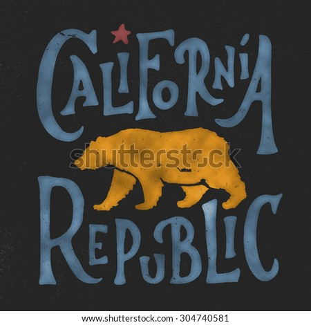 Hand lettered California Republic apparel t shirt fashion design, Walking Grizzly Bear graphic, typographic art, ink drawing vector illustration, Golden state west coast travel souvenir. - stock vector