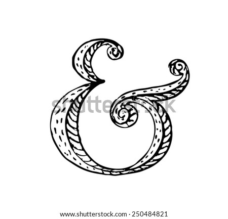 Hand lettering ampersand. Vector illustration - stock vector