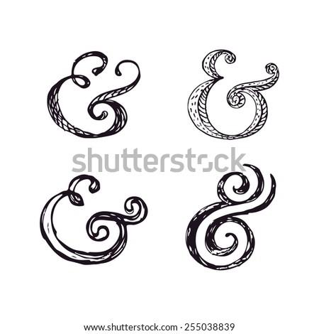 Hand lettering ampersands. Vector illustration - stock vector