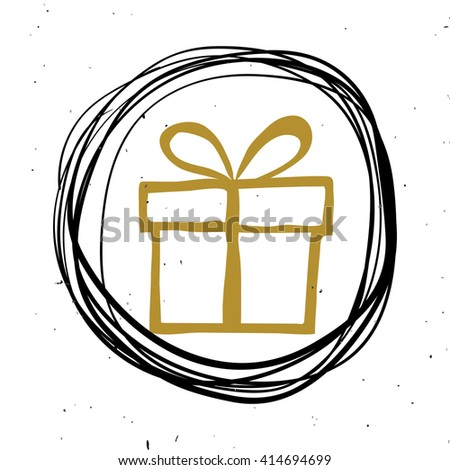 Hand lettering, calligraphy black and gold style banners, labels, signs, prints, posters, the web. Gift. Vector illustration - stock vector