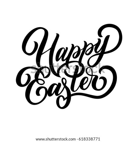 Hand Lettering Happy Easter Fancy Calligraphy Text Isolated On White Background Vector Illustration