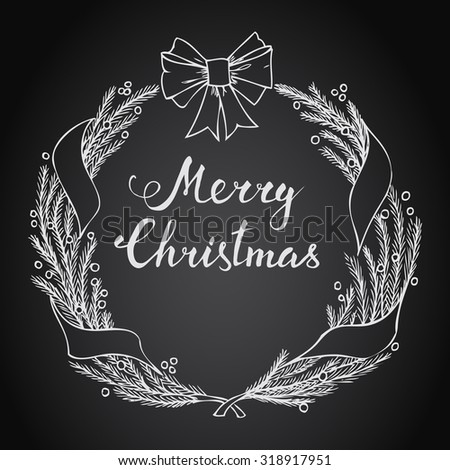 Hand-lettering Merry Christmas with Christmas wreath on black background - stock vector