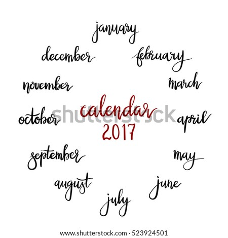 Hand Lettering Names Of The Months Modern Calligraphy Vector Calendar
