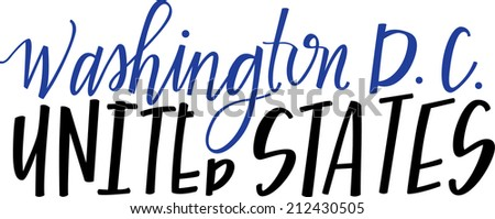 Hand-lettering of Washington DC, United States - stock vector