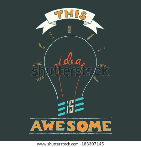 Hand Lettering on chalkboard business creativity concept - stock vector
