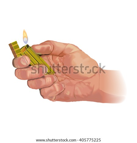 Hand lighting lighter. A flame rises up from the lighter.  - stock vector