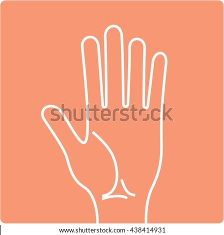 Hand line drawing. Hand palm icon. Vector illustration