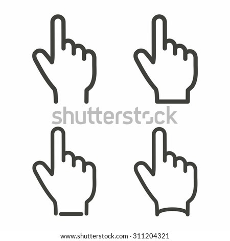 Hand  line icon  on white background. Vector illustration.