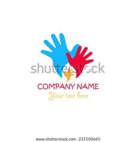 Hand logo design - stock vector