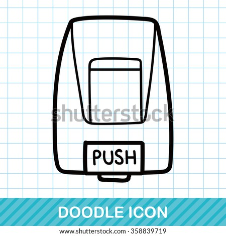 hand lotion machine doodle - stock vector
