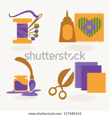 hand made and craft, vector collection of symbols and icons - stock vector