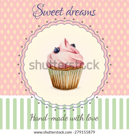 Hand-made desserts flyer template  with watercolor cupcake illustration and typographic in retro style - stock vector