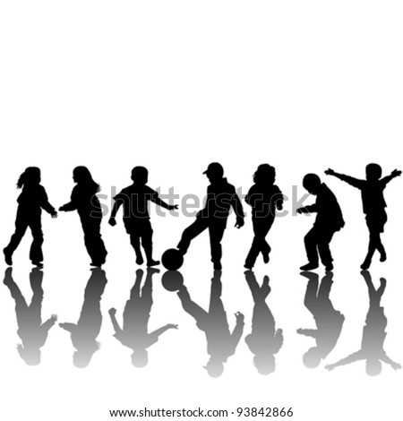 Hand made drawing silhouettes of children - stock vector