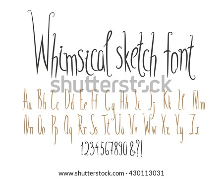 Hand Made English Alphabet Collection Narrow Letters Whimsical Style Vector Set