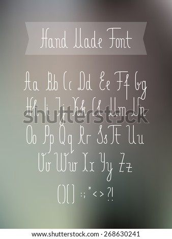 hand made hipster font on blurred background - vector digital artwork - stock vector