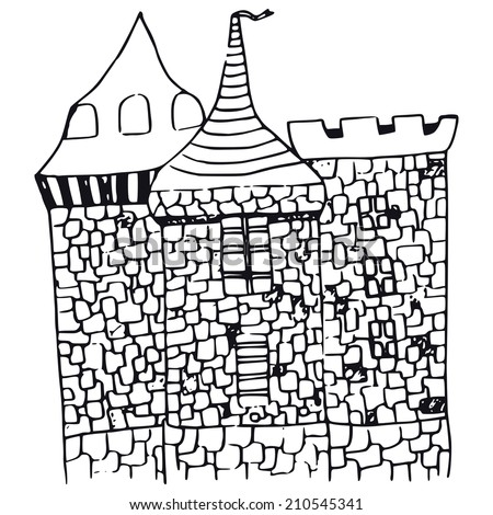 hand-made illustration - castle - stock vector
