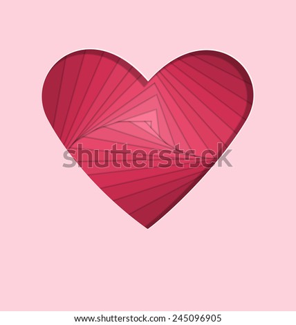 hand-made paper folding heart isolated on pink background