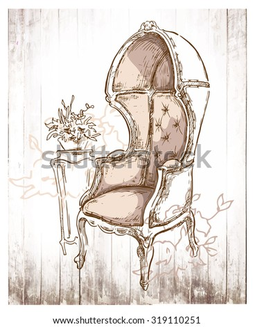 Hand made vector sketch of cozy interior fragment. - stock vector