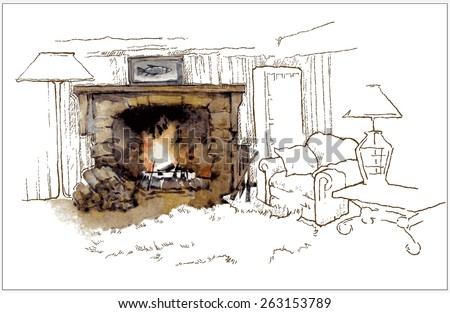 Hand made vector sketch of old fireplace - stock vector