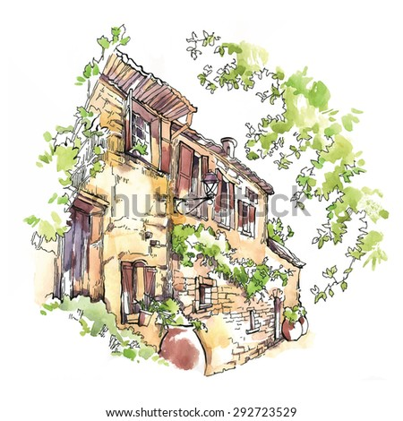 Hand made vector sketch of old town. Watercolor artwork.