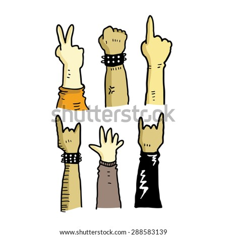 hand making various gesture - stock vector