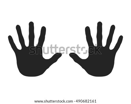 Hand Marks. Black and White Shapes